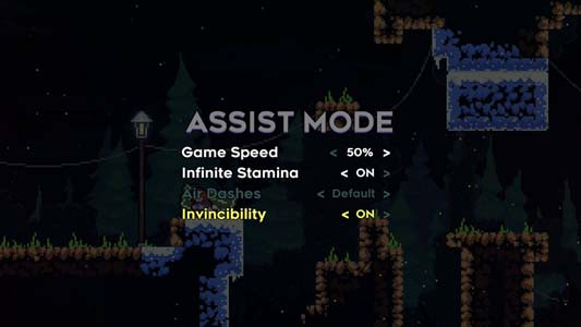 The screen for assist mode, with settings for game speed, infinite stamina, air dashes and invincibility.