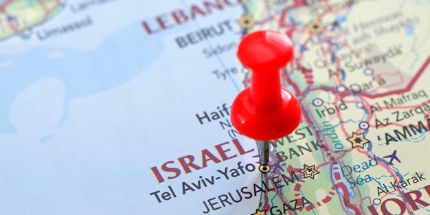 Israel on a map. Photo