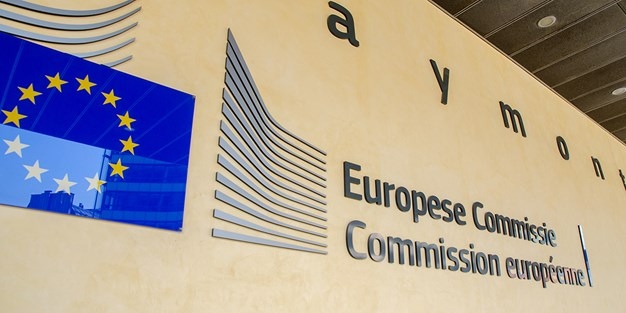 Sign of the European Commission. Photo