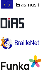 Logo, The ERASMUS+,DIAS, BrailleNet and Funka