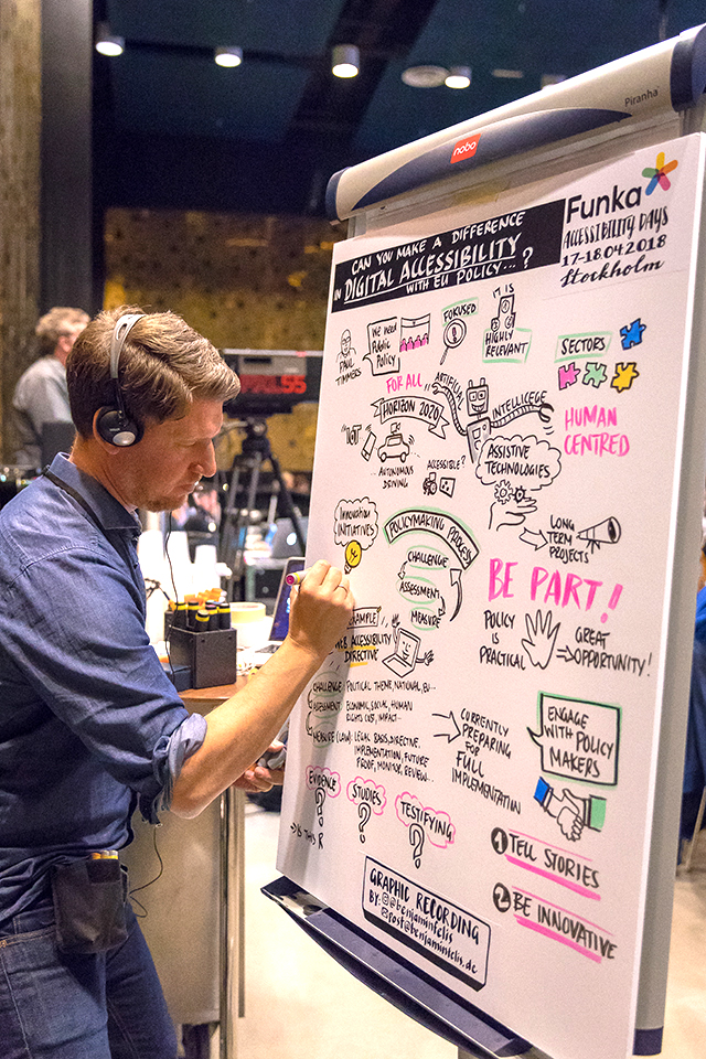 Visual recordings and graphics of every speaker at Accessibility Days 2018. Photo