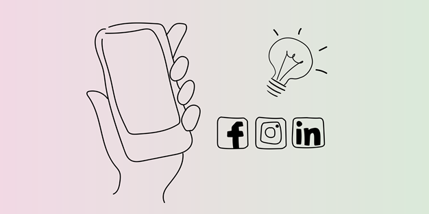 Illustration of a smartphone, icons from social media and a light bulb
