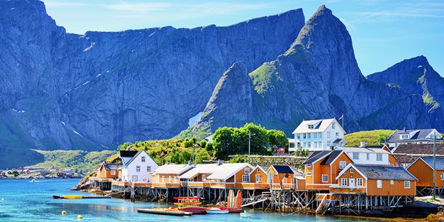 A bay with houses by Lofoten in Norway. Photo