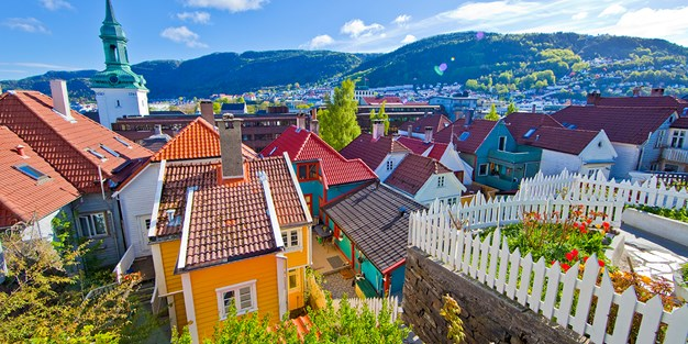 Colorful house in Bergen, Norway. Photo