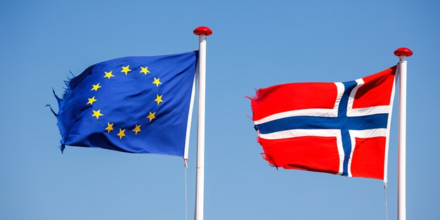 The flags of EU and Norway. Photo