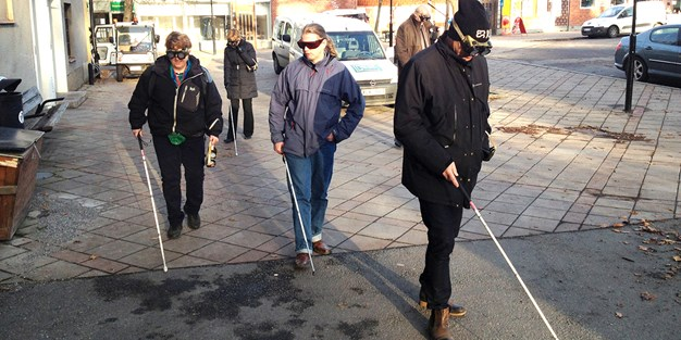 Two persons carry out Funka's empowerment exercise as visually impaired. Photo