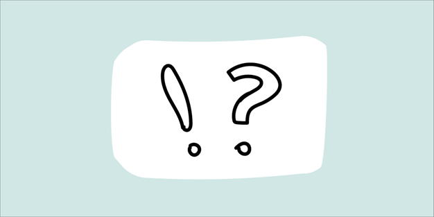 An exclamation mark and a question mark. Illustration